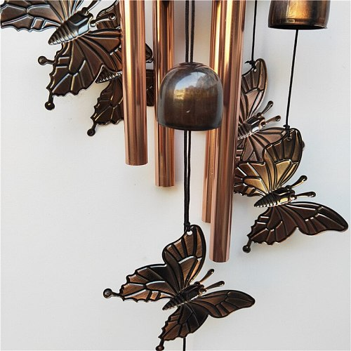 Outdoor butterfly Wind Chimes Yard Garden Tubes Bells Copper Antique Windchime Wall Hanging Home Decor Decoration wind chimes