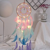 Colorful True feather dream catcher lights up Creative dreamcatcher girls practical special birthday gifts home decoration