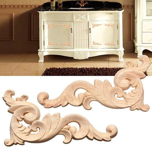 1Pc Woodcarving Decal Wood Carved Corner Applique Frame Door Decor Vintage Wall Doors Furniture Decor Figurines Wooden Miniature