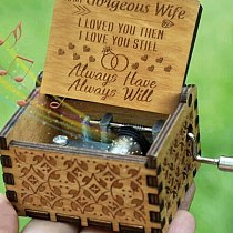 To My Wife Engraved Wood Music Box Anniversary Valentines' Gifts DFDS889