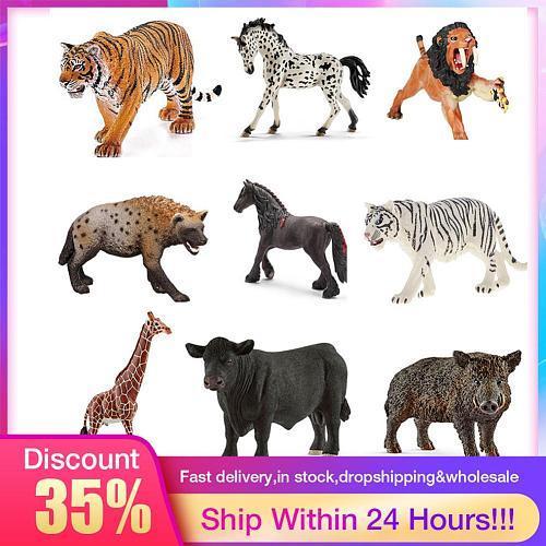 Simulation Little Tiger giraffe Hyena Squirrel Animal Model Figurine Toy Home Decor Miniature Fairy Garden Decoration Accessory