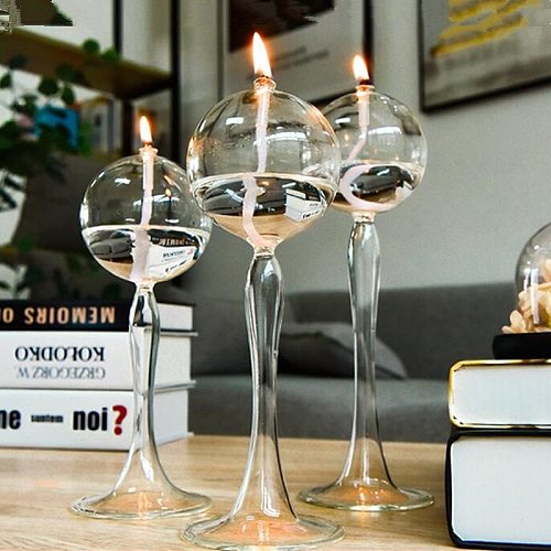 Free Shipping Creative Glass Oil Lamp Wedding Decoration Handcraft Glass Candle Holder Friend Gift Candle Holder