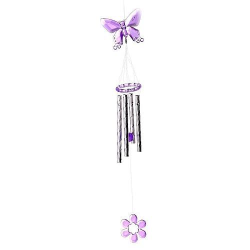 Random Style Butterfly Wind Chimes Butterfly Plastic Crystal 4 Metal Tubes Windchime Wind Chime Home Garden Decor