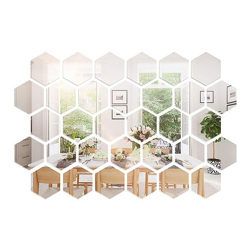 Silver Square Mirror Tile Wall Stickers Decal Home Bath Living Room Mirror Wall Stickers Decal Self-adhesive Decor