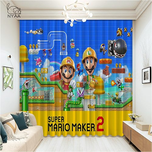 Fashion Anime Super Mario Game Window Curtains For Child  Funny Bedroom Living Room Blackout Curtains Ultra-thin Micro Shading