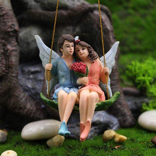 Miniature Couple Fairy Figurines Ornament Garden Patio Lawn Plant Decor Gift