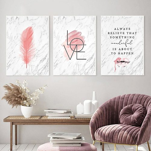 Fashion Poster Pink Feather Canvas Lips Print Marble Text Wall Art Picture Modern Living Room Girl Bedroom Home Decoration Frame