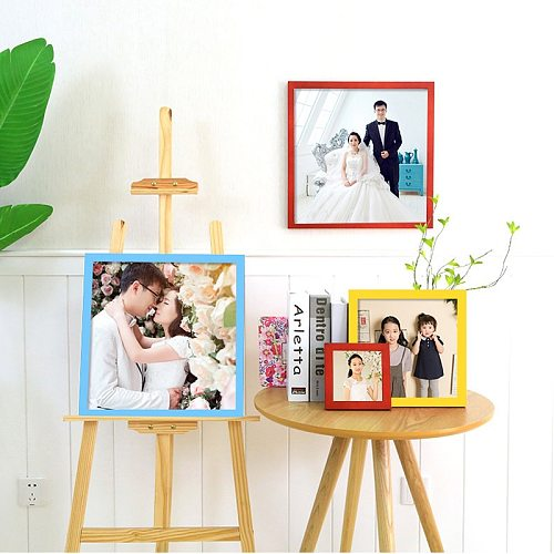 Wooden Square Picture Frame Multicolor Decoration Picturebirthday Gift dDecoration Wall Photo Frame Plexiglass Include Poster
