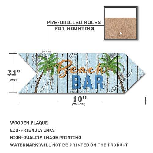 Putuo Decor Bar Arrow Wooden Sign Wood Wall Plaque Wood Tiki Bar Plaque for Bar Wall Decoration Indicator Hanging Irregular Sign