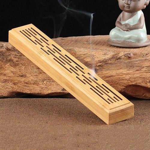 Bamboo Wood Incense Stick Holder Ash Burner Wooden Incense Holder Burning Joss Insence Box Burner Ash Catcher  Home Decor