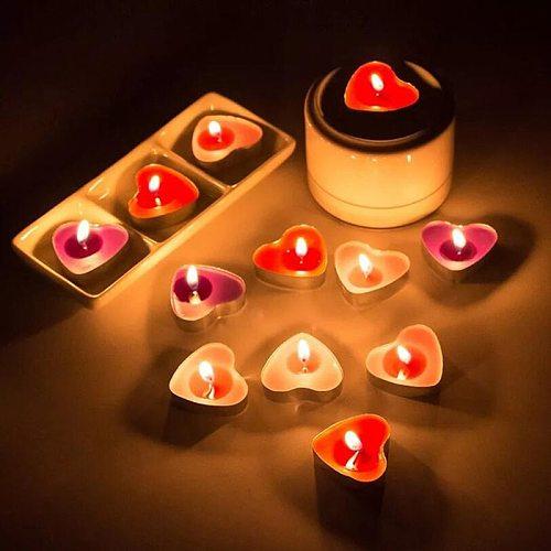 50Pcs Love Heart Shaped Tea Light Candles Smokeless Candles Romantic Decorative