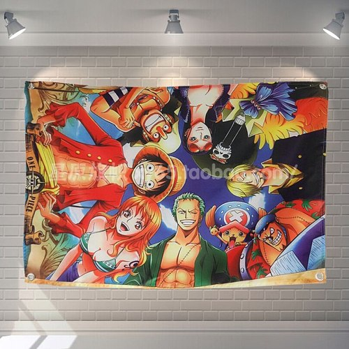 One Piece  Anime Classic Movies Cloth Flag Banners & Accessories Bar Billiards Hall Studio Theme Wall Hanging Decoration