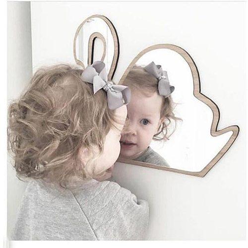 Kid Bedroom Nursery Decoration Shatterproof Acrylic Mirror mural Bunny Crown Heart Butterfly Cloud Garden Wall Mirror Art Decor
