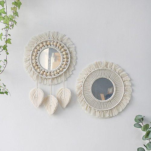Macrame Mirror Wall stickers Round Boho Mirror Macrame Home Decor For Living Room Dorm Bathroom Decor Decoration