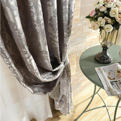 Silk Flower Jacquard Black Out Window Curtains for Living Room Bedroom Silver Grey Luxury Blue Ivory Kitchen Curtains