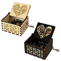 New Carved Music Box Children's Gifts Christmas Decoration Family Decoration Gift Music Box Hand-operated Music Box