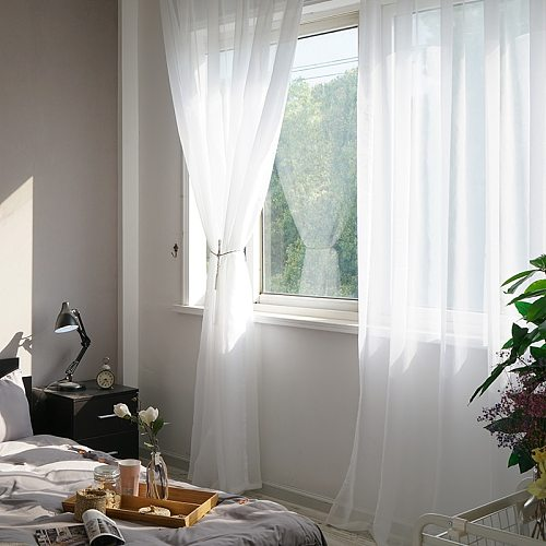 2pcs/lot Pure Curtain Window Tulle Decorative Curtains Voile Sheer Screens Finished Window Drapes Panel Treatments Decor