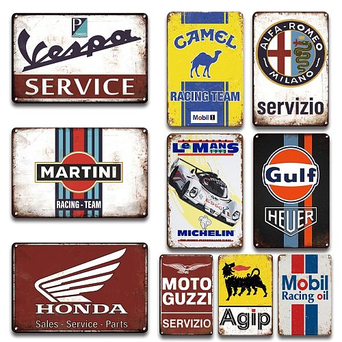 Motor oil Gas Racing Team Brand Vintage Metal signs Garage Man Cave Wall Decoration Accessories Retro Metal Plates Wall Stickers