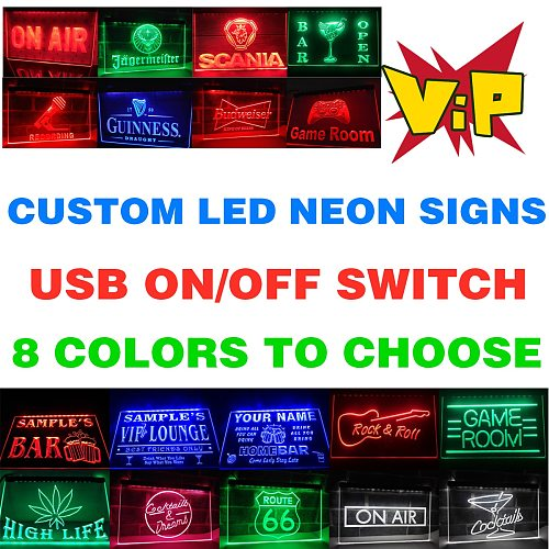 Custom LED Neon Light Signs with On/Off Switch choose Plaque Lighted  Advertisement Board Night Lamp