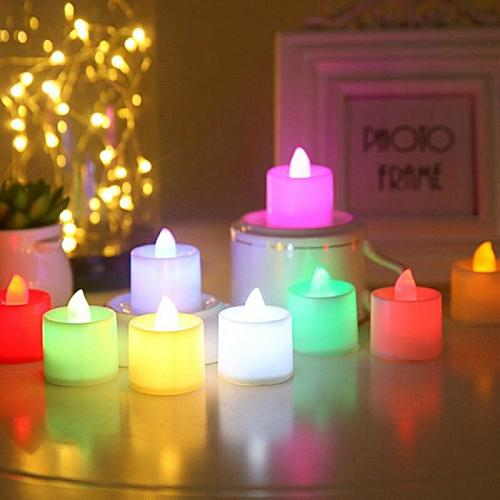 Candles With Battery Multicolor candle Lamp Decorative Aromatic Candles Reusable Night Lamp Wedding Birthday Party Decor Candle