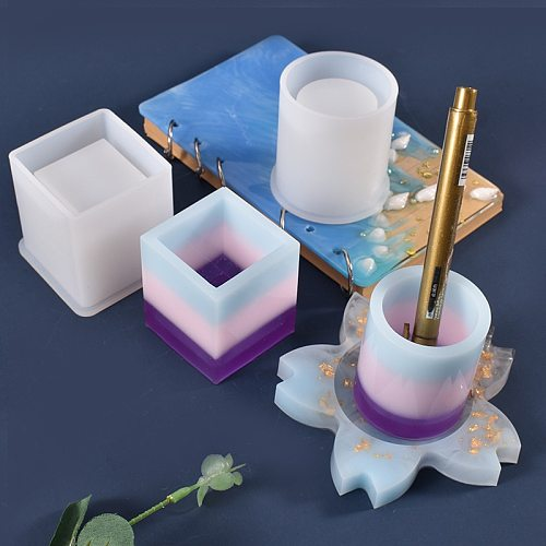 DIY Silicone Flowerpot Mold Creative Pen Holder Transparent Molds multiple styles Container Mold Candle mould soap new molds