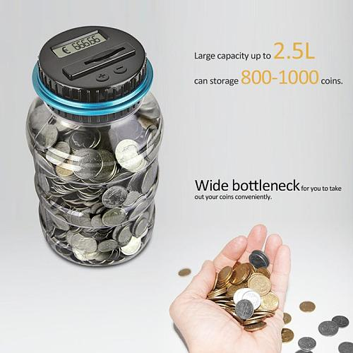 Piggy Bank Counter Coin Electronic Digital LCD Counting Coin Money Saving Box Jar Coins Storage Box For USD EURO GBP Money 2.5L