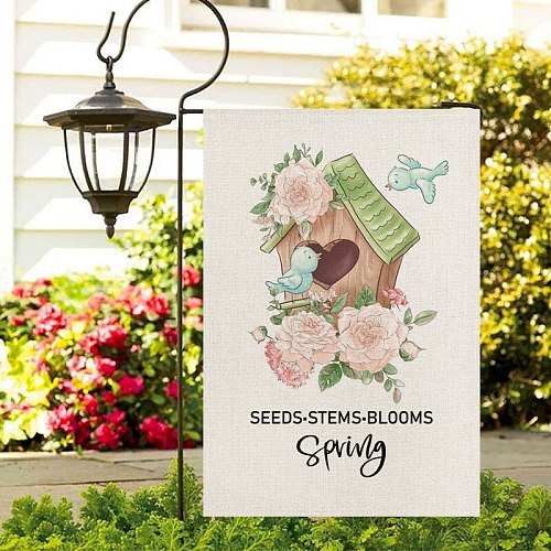 Fuwatacchi Spring Flower Photo Garden Flags Floral Pattern Banners Flag New For Home DIY Festival Decoration Accessories 30x45cm