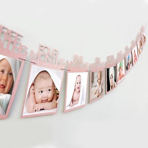 1st Birthday Photo Frame 1-12 Months Baby's Photo Frame Shower baby Photo holder Kids Birthday Gift Room Decorations