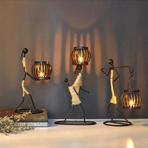 Nordic Metal Candlestick Abstract Character Sculpture Candle Holder Decor Handmade Figurines Home Decoration Art Gift