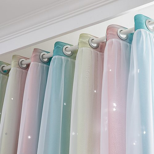 Roman Curtains For Living Room Tulle For Bedroom Curtains Double Layer Blackout Curtain Home Star Roller Blinds On the Window