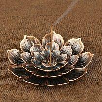 Alloy Incense Burner Stick Holder Buddhism Lotus Line Incense Plate Sandalwood Coil Base Temples Home Buddhist Decoration