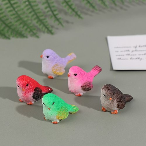8 Pieces Small Statue Figurine Ornament Miniatures Children Toy Decoration Gift Cute Cartoon Colorful Fly Bird Sparrow