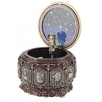 Bronze Zodiac Rotating Girl Baby Music Box,12 Constellations Music Box with LED Light Christmas Birthday Gift Castle In the Sky