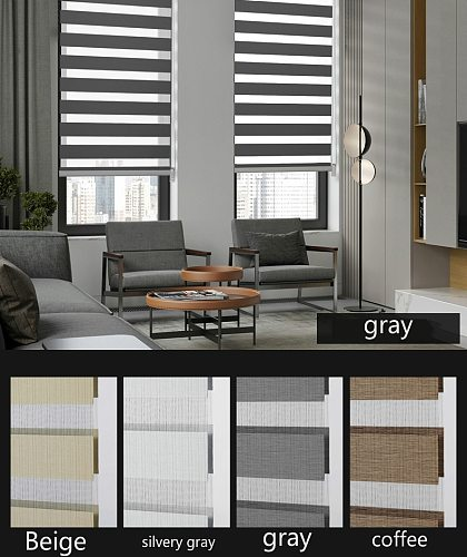 Soft Gauze Curtain Double-layer Shutter Thickened Venetian Blind Day&night Zebra Blind Curtain Rainbow Curtain Office Bedroom