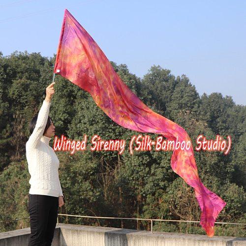 1 piece 2.5m*0.5m(98 *22 ) 6mm habotai silk Copper worship flag/banner, Acrylic rod