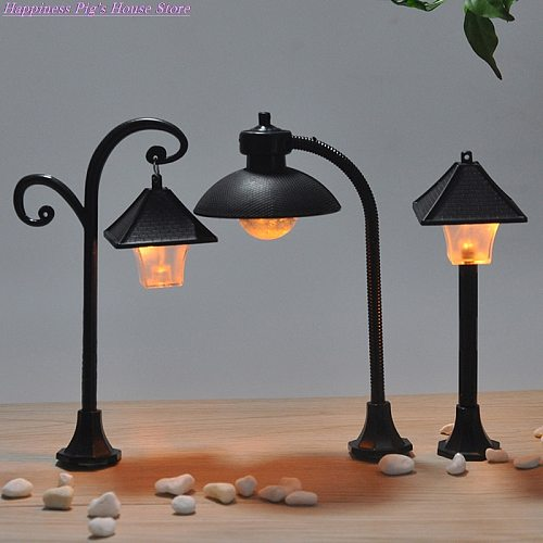1PC Miniatures Road Light Model Micro Landscape Bonsai Ornament Resin Craft Street Lamp Figurine Streetlight Home Decor