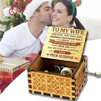 To My Wife Engraved Wood Music Box Anniversary Valentines' Gifts FOU99
