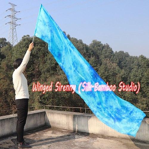 1 piece 2.5m*0.5m(98 *22 ) 6mm habotai silk Blue Moon worship flag/banner, Acrylic rod