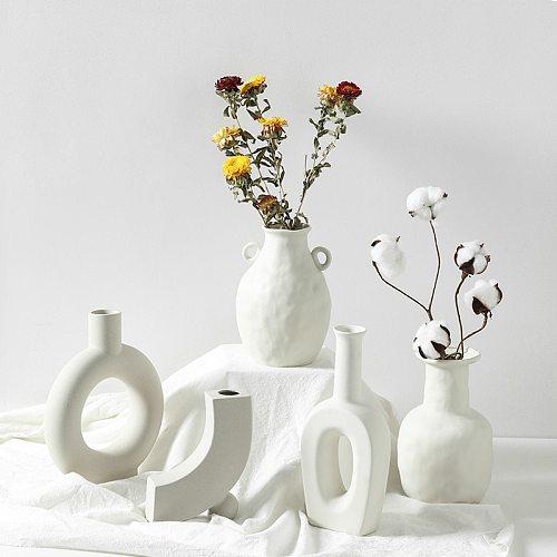 Ceramic Table Flower Vases Nordic Home Decoration Accessories Modern White Plant Art Decor Crafts Wedding Vase for Centerpieces