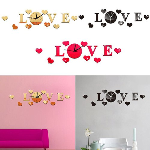 3D Mirror Stickers Wall Clock LOVE Decals Decoration