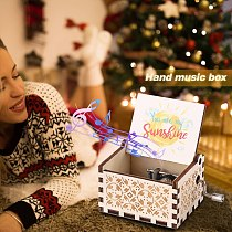 Retro Home Ornaments Crafts Kids Gift You Are My Sunshine Music Box Ornaments Retro Engraved Hand Cranked Musical Box