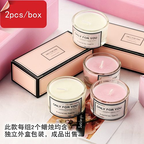 2pcs/box Soy Wax Scented Candle Romantic Aromatherapy Candle Glass smokeless Eco-friendly Candle 5*3cm Gift Set