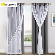 NICETOWN Double-Layered Drapes Blackout Curtains Mix Match Modern Window Sheer for Living Room/Bedroom with Free Tie-backs