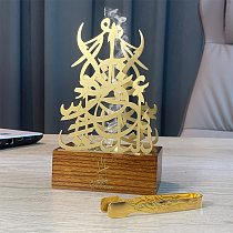 YB censer Bakhoor modeling Incense Burner - Metalic  Burner Holder with Wooden Base - Gold