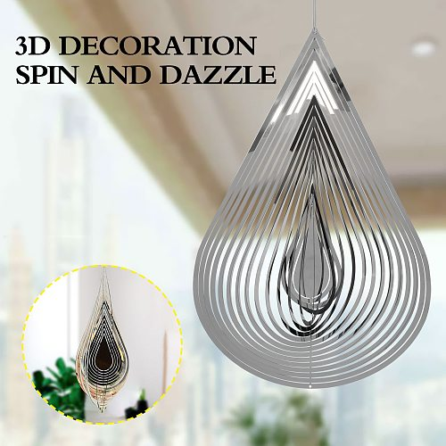 3D Drop-shaped Rotating Wind Chimes Flowing-Light Effect Design Home Garden Decoration Outdoor Hanging Decor Gift Wind Spinners