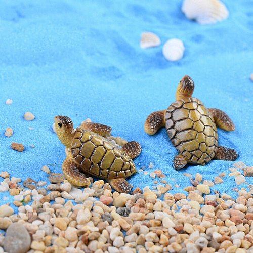 Mini Sea Turtle Model Resin Figurines Fairy Garden Miniatures Fish Tank Acessories DIY Terrarium Landscape Decoration Artificial