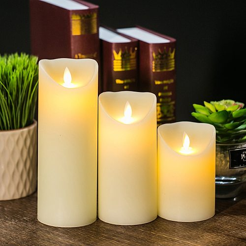 Candles Lights LED Flameless Candles Light Smooth Flickering Candle Light Battery Operated for Home Wedding Decor, 3Pcs or 1Pcs