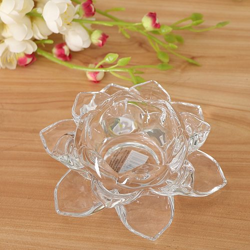 Lotus Crystal Votive Candle Holders Home Office Shengshui Decoration