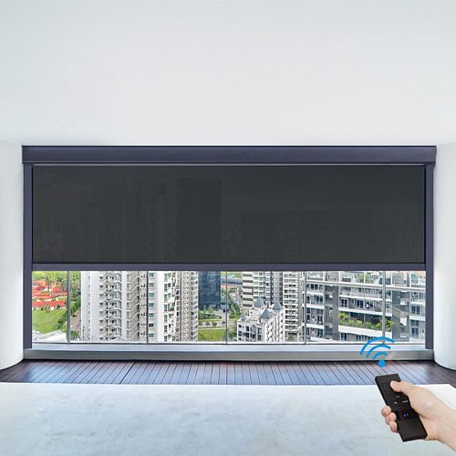 Automatic Motorized Roller Blinds Windproof Shutter Anti-UV Wind Resistance For Office Bedroom Living Room Customized