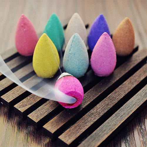 10/30pcs  Floral Incense Cone With Tray Colorful Fragrance Scent Tower Incense Mixed Scent Aromatherapy Fresh Air Aroma Spice